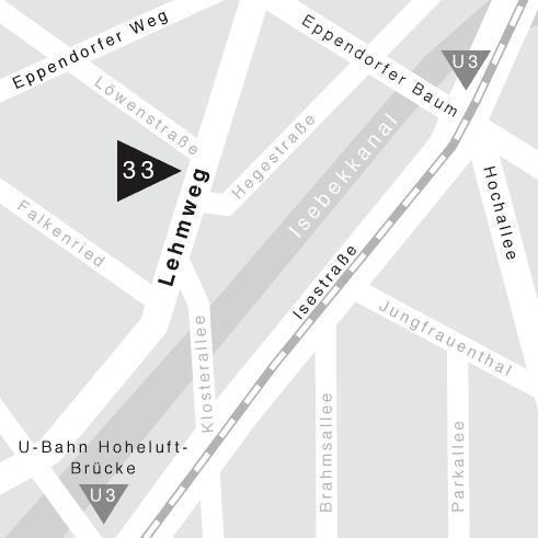 Lageplan der Galerie Lehmweg 33